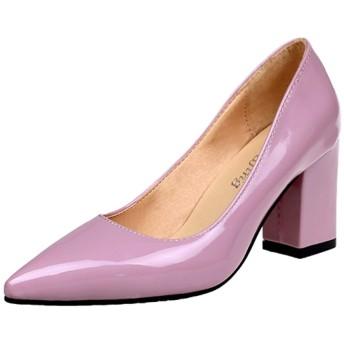 [スポシー] YS09 PK35 エナメルパンプス チャンキーヒール ポインテッドトゥ ポインテッドシューズ ポインテッドトゥパンプス アンクル丈 コンサバ 歩きやすい お洒落パンプス スリッポン アーモンドトゥ ペタンコ靴 フラットシューズ 太いヒール 大きいサイズ セクシー ピンヒール ビジネス ラウンドトウ 7cm プレーントゥ 美脚シューズ 痛くないヒール チャンキーパンプス エナメル靴