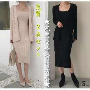 [55555SHOP]【韓国人気商品!!★超目玉★】韓国ファッション CHIC気質 細身 ニット ワンビース 2点セット