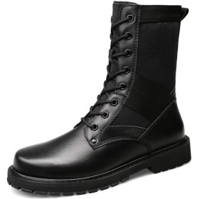 [Dong] メンズ ワークブーツ ラウンドトゥ ビジネスブーツ 防滑 大きいサイズ ヒール 25.0cm 紳士靴 フォーマル ファッション 歩きやすいヨーロッパ風 ビジネス ハイカット 脚長 ブラック ライディングブーツ