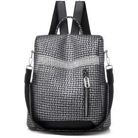 女性多機能バックパック大容量嚢A Dosスクールバッグ用女の子モチラス盗難防止バックパック女性デイパック、シルバー、L32cm W28cm Thk11cm
