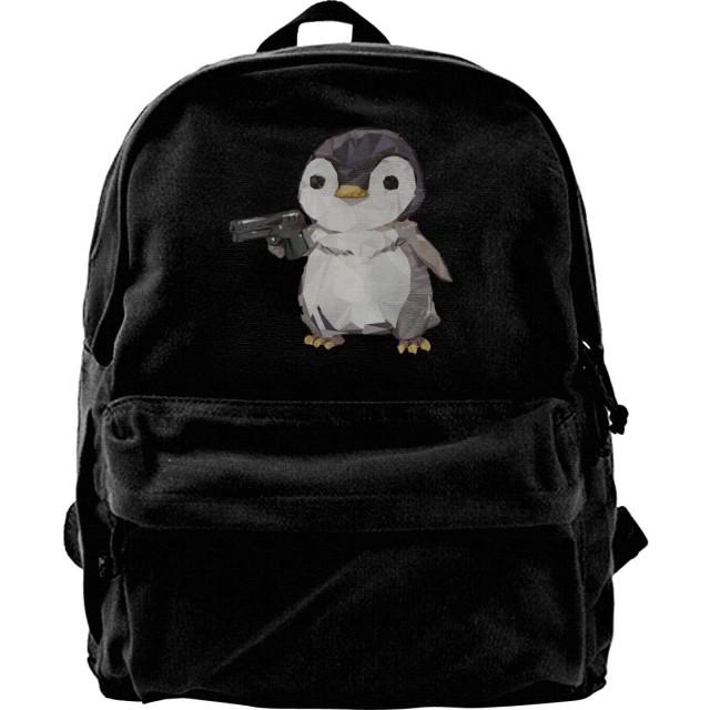 キュービック ペンギン ガン リュックサック キャンバス メンズ リュック バックパック ショルダーバッグビジネスリュック カジュアル DIY可能 オシャレ大容量 お出かけ 通学 通勤 旅行 ブラック ユニセックス