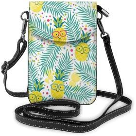多機能レザー電話財布、軽量スモールショルダークロスボディポーチ、女性用調節可能ストラップ付きトラベルバッグ-パイナップルトロピカルパームツリー
