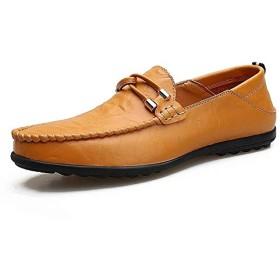 [シュウカ] ビジネスシューズ メンズ 革 イエロー 26.0cm ローファー スリッポン ラウンドトゥ 革靴 メンズ ビジネス 軽量 ビジネスシューズ ローファー メンズ スリッポン 結婚式 新郎 冠婚葬祭 おしゃれ 紳士靴 学生靴