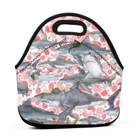 Cats Riding Sharks 保温再利用可能おポータブル弁当箱ランチトートバッグ食事袋子供大人ユニセックス