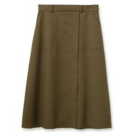 UNTITLED(アンタイトル)ウール混ラップ風ミモレ台形スカート