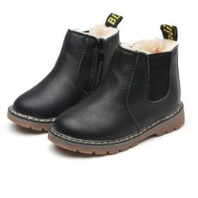 [マリア] ショートブーツ キッズ 子供用 裏起毛 マーティンブーツ マーティン靴 防寒靴 男の子 女の子 イギリス風 ブラック(普通) 【34】