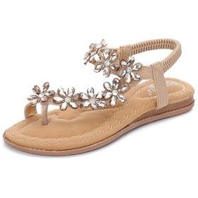[Bopoli] レディーズs レディース Bohemian Flower Sparkly Bling Diamond Flat フリップフロップ Slip on ドレスy Vintage Folk Thongs プラスサイズ