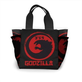 キャンバス ハンドバッグ ゴジラ Godzilla ショルダーバッグ ポケット付 大容量エコバッグ 厚手 学生 キャンパストート 自立 通勤 通学 旅行 プレゼント
