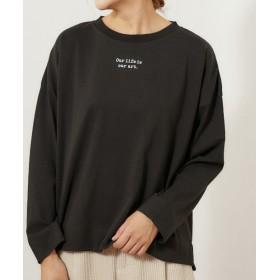 pual ce cin(ピュアルセシン) レディース 【cotton100%】ロゴプリントプルオーバー ブラック