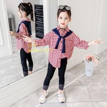 子供服 セットアップ キッズ 女の子 シャツ 新品 ジュニア 可愛い ブラウス カジュアル 上下セット おしゃれ チェック 韓国子供服 長ズボ
