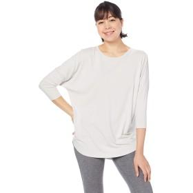 [アツギ] 7分袖 Tシャツ クリアビューティアクティブ ポリエステルレーヨンベア天竺 後ろVネック ヨガ ゆったりとしたデザイン レディース 47020NS ホワイトグレー 日本 フリーサイズ (FREE サイズ)