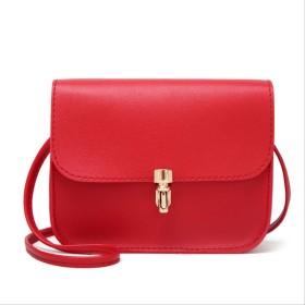 小さなハンドバッグファッションレディースウォレットソリッドショルダーバッグメッセンジャーバッグハンドバッグ携帯電話バッグレッド14  6  16cm
