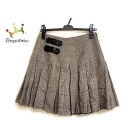 アリスオリビア スカート レディース 美品 アイボリー×ダークブラウン グレンチェック/プリーツ   スペシャル特価 20200108