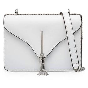 牛革レザーメッセンジャーバッグ女性ポップ野生のショルダーバッグ小さな正方形,白い