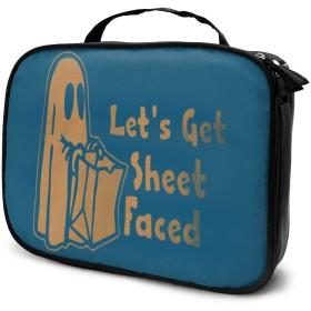 収納袋ハロウィーンスリリングゴースト化粧品袋耐摩耗性軽量ポータブル高品質大容量旅行ポーチバスルームポーチ旅行小物整理約8×25×19cm