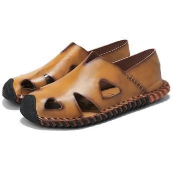 メンズ シューズ 快適 レザーサンダル人格ブラウンスリッパ青少年青少年の靴滑り止め防水夏新しい透かし カジュアルな穴の靴 (色 : Yellow, Size : 42-EU)