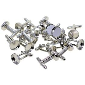 dailymall 20個真鍮メンズカフスボタンカフスボタンカボションフレームトレイベゼルカフスボタンブランク設定トレイ:12mm - ホワイトK