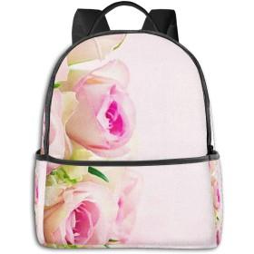 リュック リュックサック PCバック ビジネスリュック 大容量 ラップトップ バックパック 男女兼用 アウトドア旅行防水 美しい白ピンクのバラ