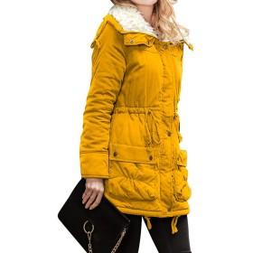 プラスサイズの冬のジャケットのコートの女性のヴィンテージソリッド生き抜くパーカファッションはレースアップチュニック暖かいフード付きのジャケット、黄色、XXLポケット