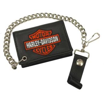 ハーレーダビッドソン メンズ オレンジ バー&シールド 三つ折り バイカーチェーン 財布 TC813H-2