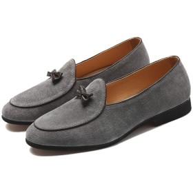 [CHIIKA] ローファー メンズ ドライビングシューズ リボン フォーマル 社内勤務用 スエード 履きやすい ビジネスシューズ 快適 抗菌防臭 快適 痛くない ローヒール 防水 オフィス用 紳士靴 グレー
