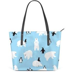 女性のハンドバッグ 大容量 ウォレット 女の子ショッピングハンドバッグ 高級PUレザー ファッションショルダーバッグ シロクマペンギン