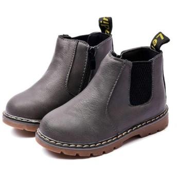 [マリア] ショートブーツ キッズ 子供用 裏起毛 マーティンブーツ マーティン靴 防寒靴 男の子 女の子 イギリス風 グレイ(普通 【24】