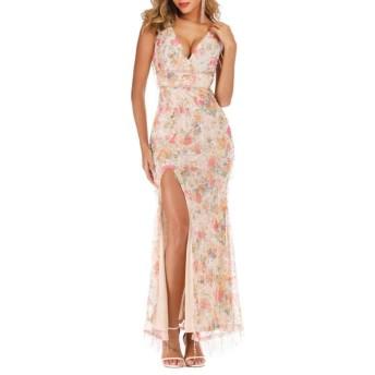 HOHYLLYA ロングマキシスプリットドレスの女性の花柄Vネックノースリーブスパンコール十代の若者たちのためのドレス女性のパーティーのためのドレス (色 : 杏色, サイズ : L)