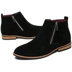 [ランボ] 秋ブーツ 冬ブーツ メンズ 裏ボア ハイカット ビジネスブーツ フ 26.0cm カジュアル おしゃれ ショートブーツ 紳士靴 シンプル 軽量 マーティンブーツ かっこいい やわらかい エンジニアブーツ ワークブーツ 黒
