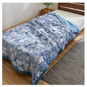 あったか起毛フランネルの綿入り2枚合わせ毛布(北欧アニマル柄) 毛布・ブランケット