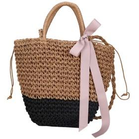 ストロー不織布バッグ手作りの籐のバッグ女性の夏のビーチは、ソリッドbolsos MUJER、黒のショルダーバッグ手織りワイルドチェーンメッセンジャーバッグ弓