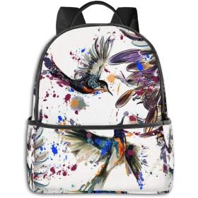 リュック ユリの花の鳥と色のしぶきアート バックパック メンズ レディース スクールバッグ 軽量 おしゃれ 通学 大容量 旅行 プレゼント 防水 リュックサック