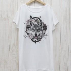ronronWOLF ワンピースTee Flower Frame(ホワイト) / R023-O-WH