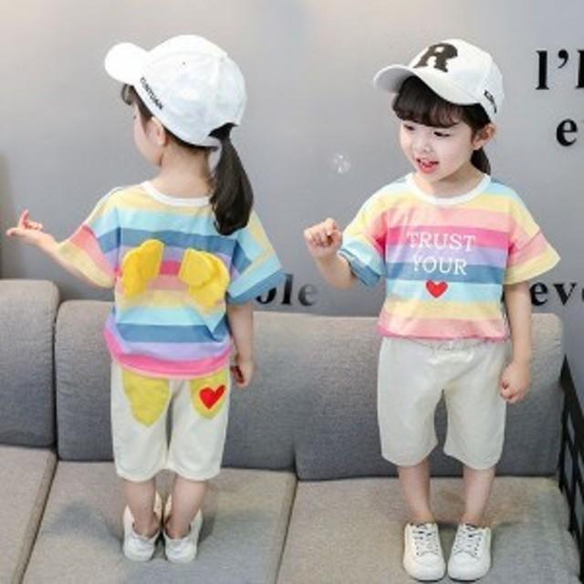 上下セット 半袖Tシャツ 7分丈ズボン ベビー 女の子 セットアップ 子供服 韓國子供服 虹色 キッズ 綿 ストライプ柄 著心地