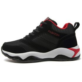 [Monke] スニーカーランニングシューズ メンズ ス ジョギング クッション性 運動靴 カジュアル 軽量 通気性 ウォーキング (27.0cm,ブラックレッド)