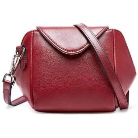 革の女性の小さな正方形のパッケージのメッセンジャーバッグJurchenバッグ野生の肩ヘッダー層,赤ワイン
