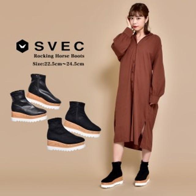 【SALE/セール】厚底 ブーツ レディース ショートブーツ ロッキンホース シャークソール svec シュベック ブラック ブラックスエード 黒