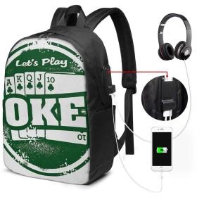 バックパック USB ポート搭載 17インチPC対応 大容量ビジネスリュック 通勤 通学 出張 旅行 メンズ レディース 兼用おしゃれカバン ポーカートーナメント36