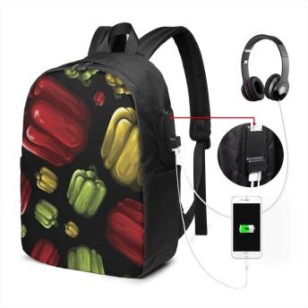 バックパック リュックサック シームレスな野菜パターン - カプシクム USB充電ポート付き 17 INCH 男女兼用 デイパック PCバック かばん 多機能 カジュアル アウトドア One Size