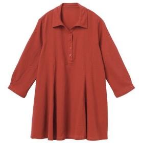 50%OFF【レディース】 スキッパーフレアシャツ - セシール ■カラー:ダルオレンジ ■サイズ:M,L,LL,3L