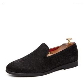 [シュウカ] メンズ ローファー ブラック 革 靴 歩きやすい 大きいサイズ シューズ 通勤 通学 ビジネス カジュアル ヒール 厚底 スリッポン 紳士 学生 男性 革靴 皮靴 24.0cm レザー 黒 おしゃれ 履きやすい 安定感 ブーツシューズ