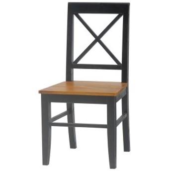 ダイニングチェア(リビングチェア/椅子) 木製 座面高43cm シャビーシック ブロカントシリーズ ブラック(黒)【代引不可】