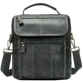 フリップカバーの通勤バッグ付きメンズレトロソフトレザーショルダーバッグカジュアルメッセンジャーバッグ (Color : Gray, Size : 227.524.5)