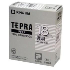 キングジム 「テプラ」PROシリーズテープ スタンダード 透明に白文字 18mm