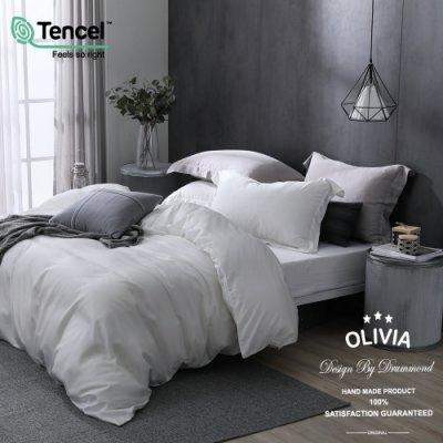 【OLIVIA 】DR1000 solid color 全白 雙人床包兩用被四件組 300織天絲™萊賽爾 台灣製