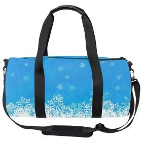 ダッフルバッグ ボストンバッグ スポーツバッグ 旅行バッグ アウトドアバッグ トラベルバッグ 2way 青色の背景に白い雪