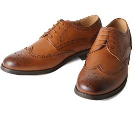 [ミッドランド フットウェアズ] フルブローグ ウィングチップ 紳士靴 靴 メンズ 軽量 革靴 メンズシューズ シューズ カジュアルシューズ 004 (27.0cm, タン)