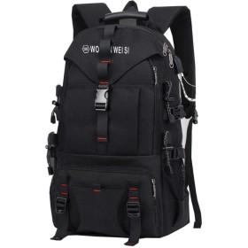 男子ダブルスのバックパックのショルダーバッグ旅行バッグアウトドア旅行バッグ大容量の登山バッグ,ヘッドフォンブラック,14インチ