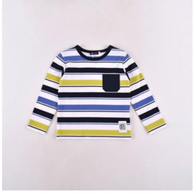 【BEBE ONLINE STORE:トップス】天竺BOYボーダーポケット付きTシャツ