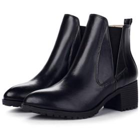 [AJGLJIYER LTD] ショートブーツ ブーティ レディース チャンキーヒール ショートブーツ ベルト レースアップ ファッション マーティンブーツ 歩きやすい 秋 冬 防水 24.5cm 安定感 痛くない 疲れにくい ブラック ブーツシューズ